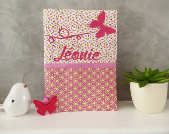 Health Book personalized Butterfly with a name, fabric choice and cloud bookmark
