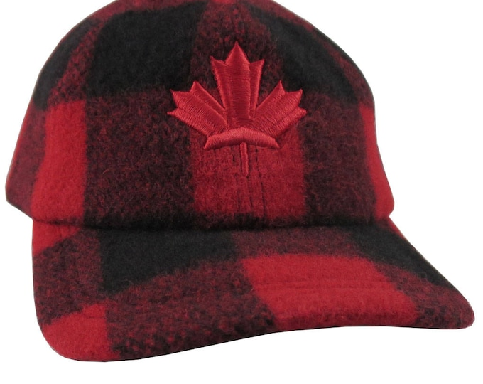Canadian Red Maple Leaf Canada 3D Puff Embroidery on a Red and Black Buffalo Check Baseball Cap Style Winter Fashion Woolen Hat X-Large Size