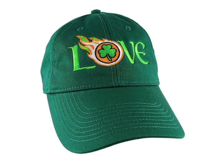 Irish Green Ireland Flag Colors Love Embroidery on an Adjustable Kelly Green Unstructured Baseball Cap with Option to Personalize the Back