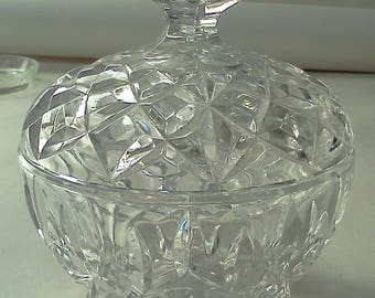 """Vintage ?Bohemian? Crystal Bowl with Lid 5"""" H x 4.25"""" D"""