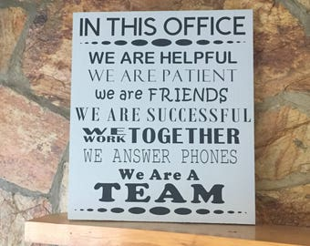 In This Office wood sign