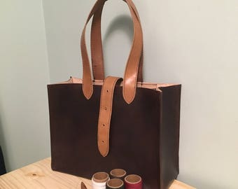 Large Brown Leather Tote - Handmade