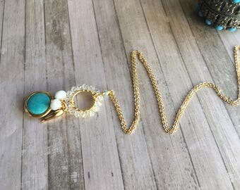 Long Necklace. Sparkling pendant. Long Layering Necklace. Statement necklace. Gold filled necklace. Turquoise pendant.