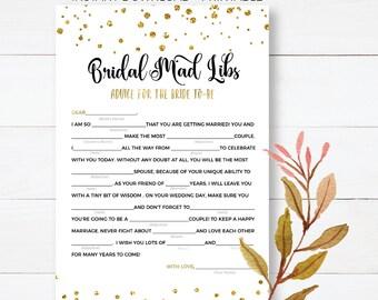 Gold Confetti Bridal Shower Games Wedding Vow Mad Libs