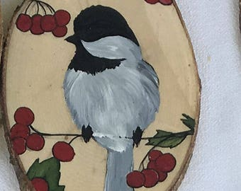 Painted Wood Ornament - Bird with Berries
