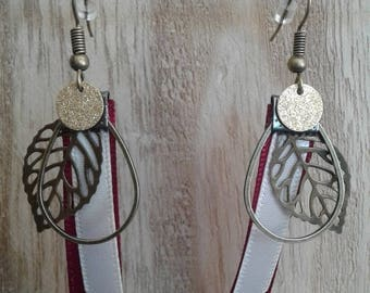 Beige, Burgundy Ribbon ring, leaf earrings silver metal