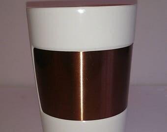 Starbucks Copper Band Mug/White/10 fl oz/Rare