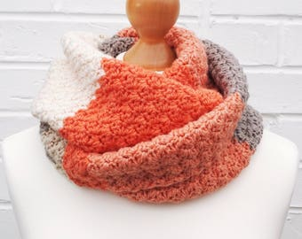 Winter Infinity Scarf - Circle Crochet Knit Scarf - Caron Cakes Strawberry Trifle - Colorful Peach Cowl Ladies Children Winter Accessories