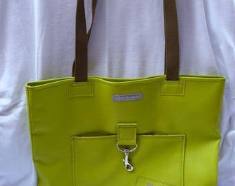 Large bag with pockets imitation straps