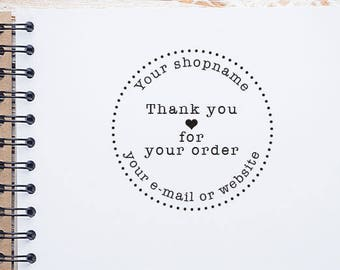 Custom Shop Name or Website Stamp, Custom Website Business Stamp, Personalized Business Thank You Stamp