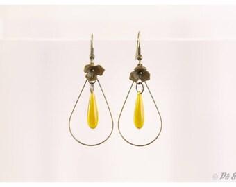 Earrings yellow drop mustard #0792