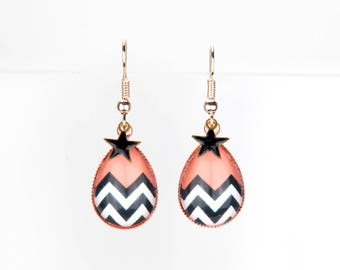 Copper earrings pink gold black and white Chevron with Black Star #1247