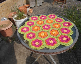 African Flower Hexagon Crochet Tablecloth Doilie