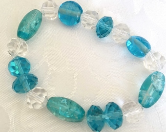 Lovely blue and clear crystal beaded stretch bracelet