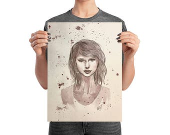 Taylor Swift 1989 Era - Wine on Watercolor Paper - Poster