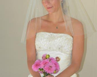 "Sparkling 22"" Shoulder Length Wedding Veil with Cut Edge"