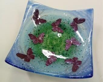 Handmade Glass Butterfly Bowl.