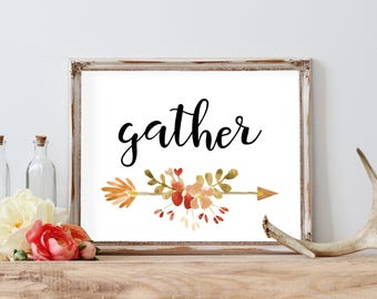 Gather Fall Print, Welcome Fall, Fall Printable, Fall Decor, Fall Sign, Printable Fall Sign, Welcome Autumn, Barnwood Sign, orange