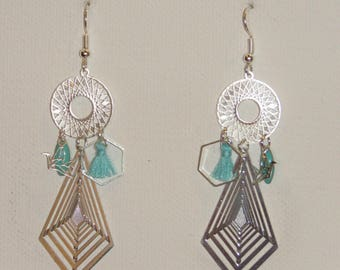 Geometric earrings, earrings diamonds, Sun, Hexagon Earrings, turquoise tassel, origami bird