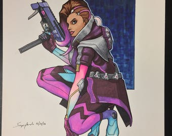 Sombra from Overwatch illustrated by Sergio Azevedo