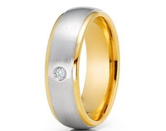14k Yellow Gold Wedding Band Diamond Wedding Band Saint Finish Men's & Women Wedding Rig