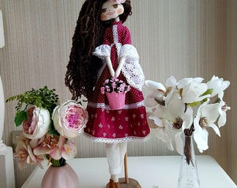 Hand-Made Doll, Rag doll, fabric doll, cloth doll, art doll, embroidery doll, soft doll, gift for girl, heirloom doll, collectors doll