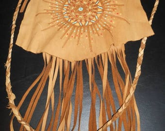 REDUCED!!! Deer Skin Leather Fringed Medicine Bag Art Sunburst