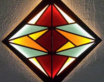 Stained Glass LED Lamp No.04. Geometric Wall Art. LED Light Wall Art. Geometric Stained Glass. LED Wall Lamp. Abstract Stained Glass Art.