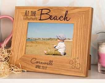At the Beach Oak Photo Frame – Wooden Picture Frame, First Holiday Photo Frame, Name Photo Frame, Engraved Frames