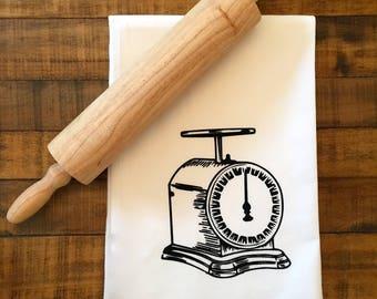 Vintage Kitchen- Vintage Scale-Kitchen Flour Sack-Gift Under 10-Everyday Kitchen-Hostess Gift-Classic Kitchen Decor by classiccottongoods