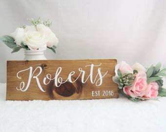 Last Name Sign. Bridal Shower Gift. Wooden Last Name Sign.  Rustic Wedding Sign. Wedding Gift. Housewarming Gift. Wedding Photo Prop Sign