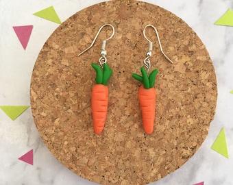 Carrot Earrings •  Polymer Clay  •  Handmade  •  Stainless Steel  • Gift Idea  • Earrings • Unique • Vegetable •  Jewellery •