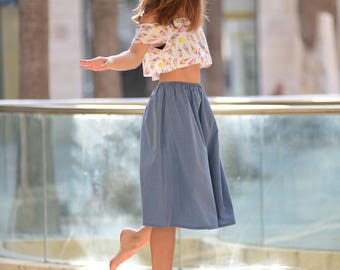 Midi Denim Skirt, High Waist Skirt, A Line Skirt, Elastic Waist Skirt, Skirt With Pockets, Flared Skirt, Casual Skirt, All Seasons skirt