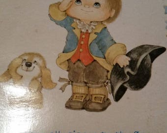 Vintage Home Decor - Vintage Suzy Angel Plaque * Little Boy and Puppy Pledge of Allegiance