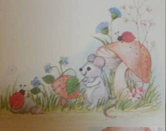 Vintage Stationery Collection ~ Cute Wildlife Stationery - Henco 1977 - Mouse Squirrel Mushrooms