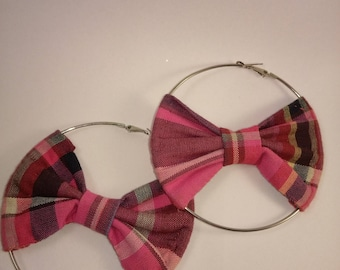 Pink madras bow earrings