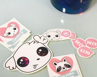 Heckin Cute Doggo Puppy and Trash Panda Raccoon Stickers (Set of 5)