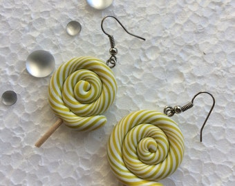 polymer clay yellow Lolly earring