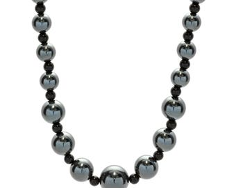Hematite and Black Onyx Bead Necklace, 925 Sterling Silver