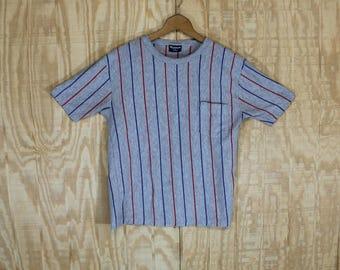 Vintage 1970's Wentworth Label Red Gray Blue Vertical Stripe Pocket T-Shirt  T Shirt S /M