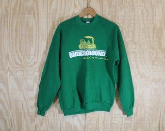 Vintage 1980's Jerzees Label Underground Railroad Atlanta Green 50/50 Sweatshirt L / XL