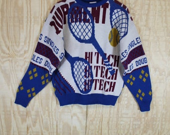 Vintage 1980's Cliff Engle PLAY Wool Tennis Racket Doubles Singles Knit Sweater Jumper Large L