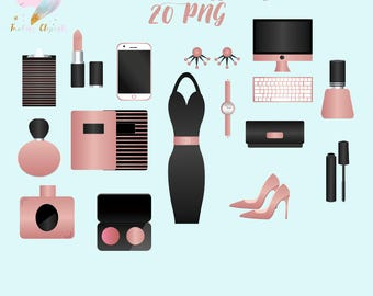 Women accessories, black dress clipart, fashion clip art, planner girl png, cosmetics graphics, make up images, digital cell phone, girl bo
