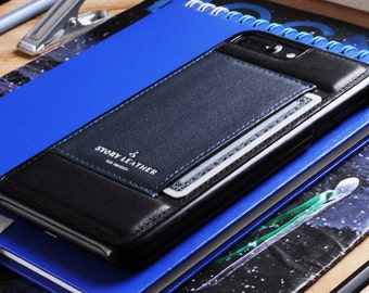 Genuine Leather Phone Case With Pocket for Credit Card for Apple iPhone 7 Plus / iPhone 8 Plus in Black / Navy Blue Leather - Gift for Him