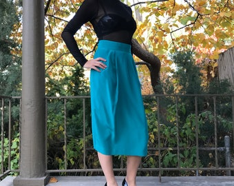 Vintage Deep Teal Mid-Length Silk Pencil Skirt | S