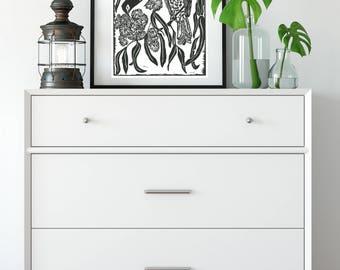 Original Linoprint/ Regent Honeyeater/ Australian Birds/ Handprinted/ Blockprint/ Fine Art/ Flora and fauna/ Spirit Messenger/ Sacred space