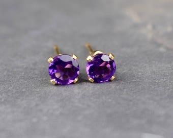 February Birthstone, 4mm Purple Amethyst & Sterling Silver/ 14k Gold Filled Stud Earrings, African Amethyst Earrings, Valentines Gift Her UK