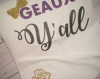 Y'ALL Southern TIGER Shirt/Glitter vinyl/LS U shirt/Boutique Glitter Shirt/Preppy Football shirt/Cute Girlie Lousianna Shirt/Preppy girl