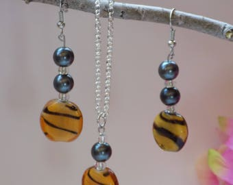 Tiger Bead Necklace and Earrings