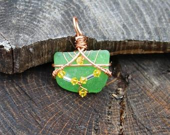 NC Green Sea Glass, Yellow Swarovski and Copper Wire Wrap Pendant,NC Green Sea Glass Pendant, Wire Wrapped Pendant, Wire Wrapped Necklace